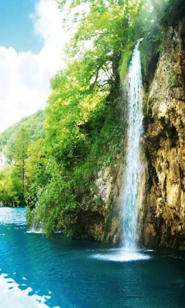 Vlies Fototapete Wald Wasserfall 150x250