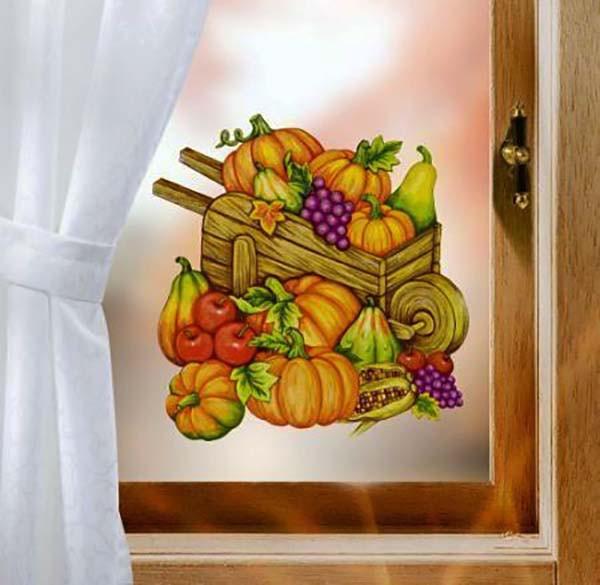 Fensterbild Herbst Erntezeit Kürbisse glitzernd