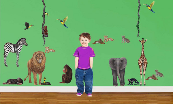 Wandsticker Tiere Regenwald Komplettset