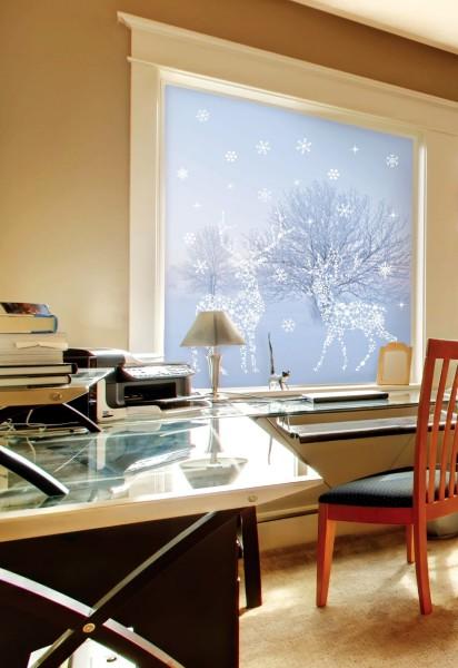 Wandsticker Schneeflocken Rentier Fensterbild