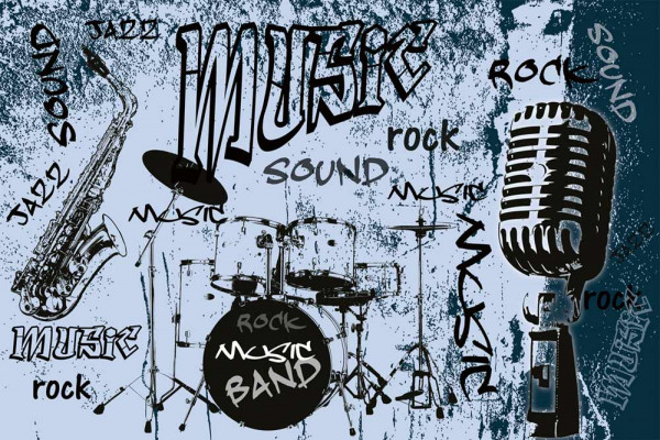 Vliestapete Rock Music Band Blau 375x250
