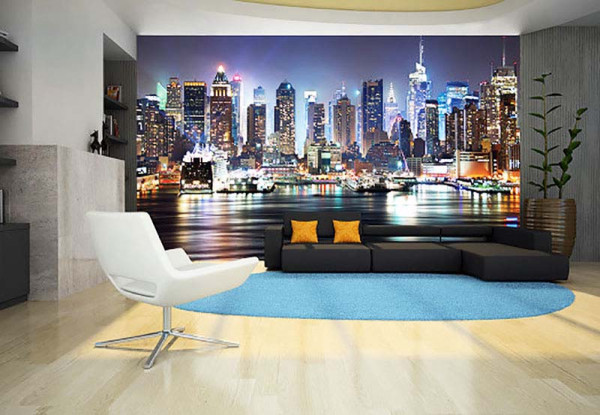 fototapete new york nacht skyline tapetenwelt. Black Bedroom Furniture Sets. Home Design Ideas