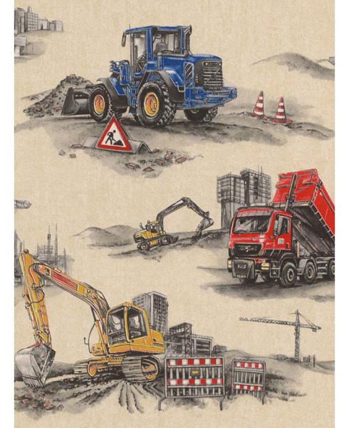 Tapete Baustelle Bagger Bulldozer Kran