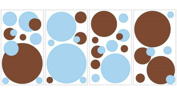 Wandtattoo blaue und braune Punkte