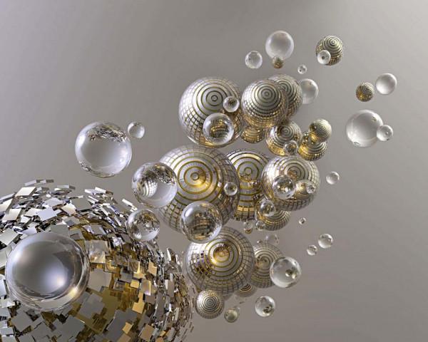 Fototapete Vlies Wandbild Awakening Silberkugeln