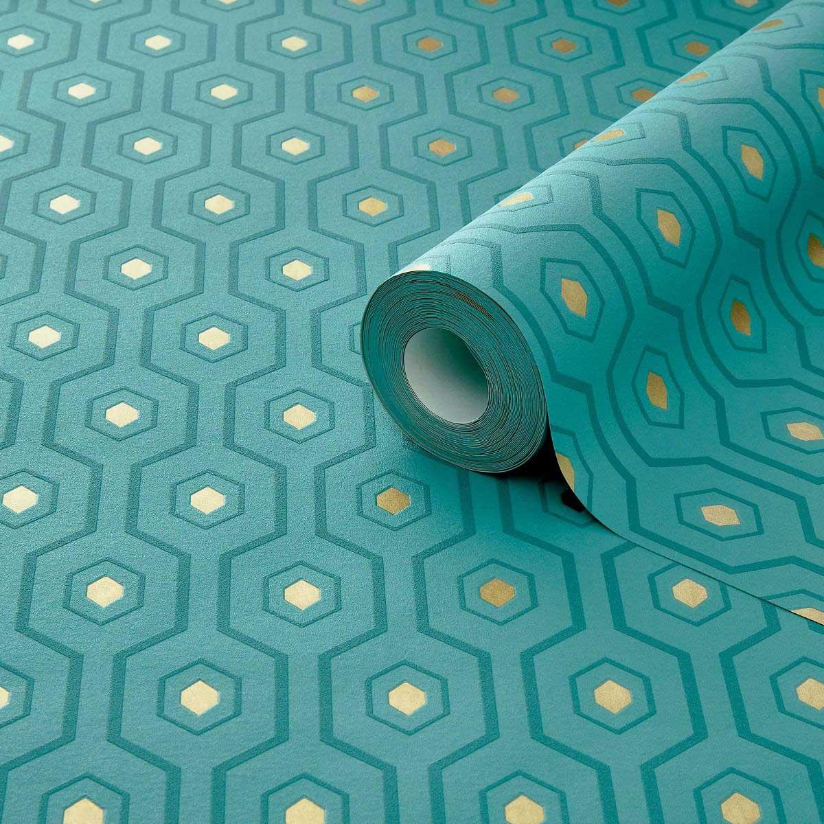 Vliestapete Geometrie Muster Grun Gold Tapetenwelt