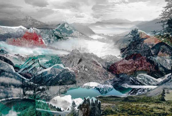 Vlies Fototapete Gebirge Alpen Collage