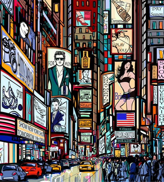 Vliestapete Times Square Collage 225x250