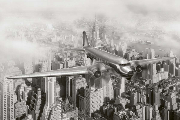 Vliestapete Flugzeug über New York 375x250