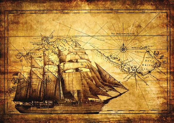 Fototapete Segelschiff antike Landkarte