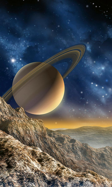 Vlies Fototapete Saturn mit Ringen 150x250