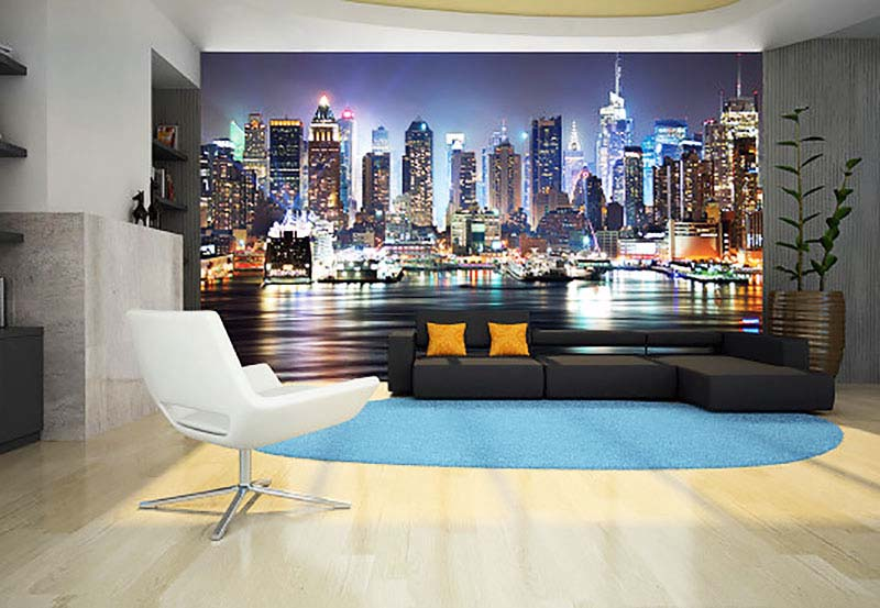 fototapete new york nacht skyline tapetenwelt. Black Bedroom Furniture Sets. Home Design Ideas
