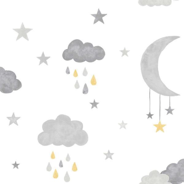 Vlies Ökotapete Wolken Mond gelb