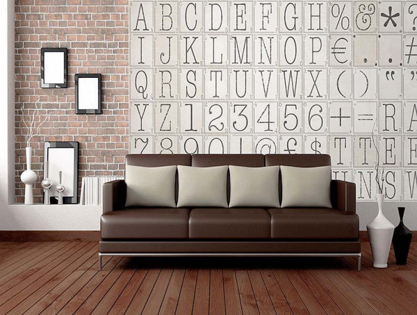 Kreative Collage Buchstaben Nummern Designer Tapete Veranda