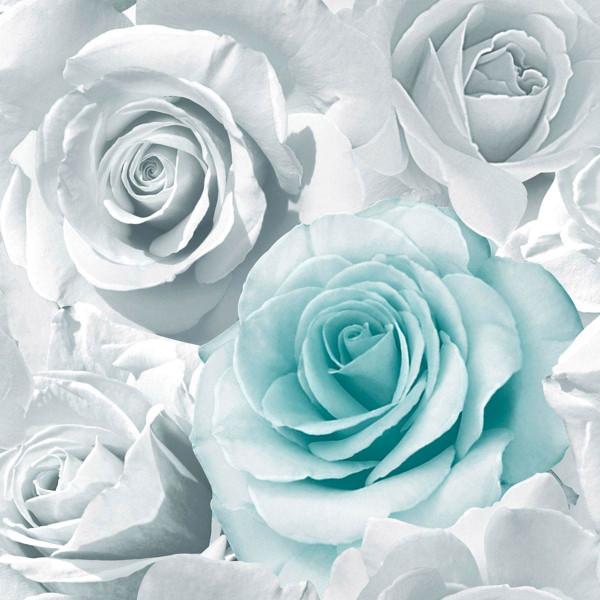 Tapete Madison Rose Blüten aqua grau