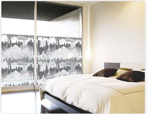 Fensterfolie selbstklebend Cityline schwarz Schlafzimmer