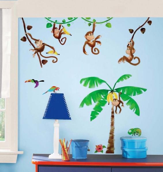 Wandsticker Dschungel Affen Palme