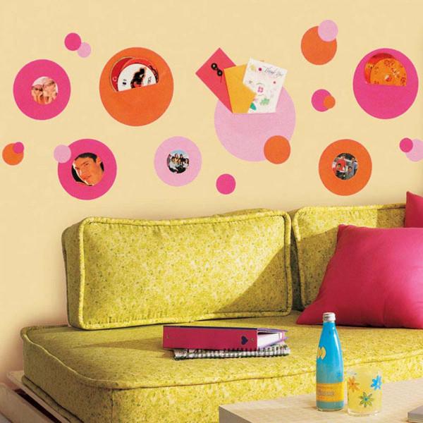 Wandsticker Wandtaschen pink orange Jugendzimmer
