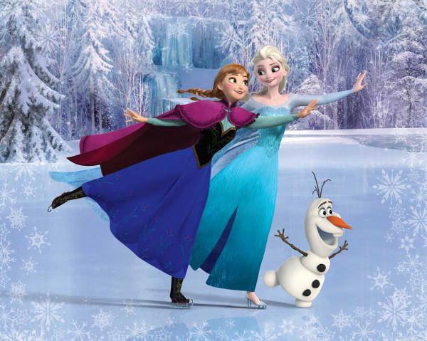 Fototapete Disney Frozen Schneemann Prinzessin Schlittschuhlaufen