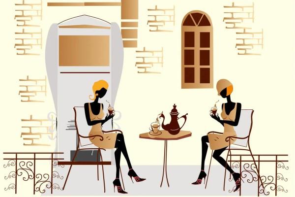 Vliestapete Straßen-Cafe 375x250