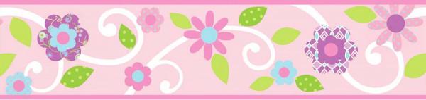 Bordüre Blumen Blüten pink selbstklebend
