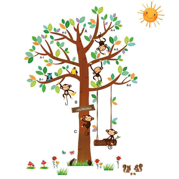 Wandsticker 5 kleine Affen auf dem Baum