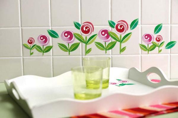 Wandsticker Lollipop Blumen Küche