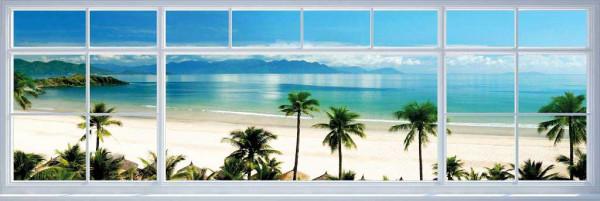Fototapete Strandfenster Meerblick Panorama