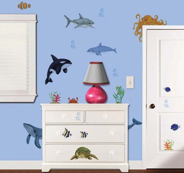 Kinderzimmer Eck-Wandsticker Unterwasser Meerestiere