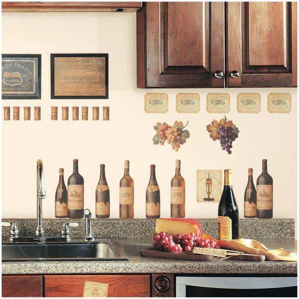 Wandsticker Weinflaschen Etiketten