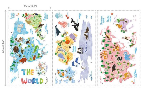 Wandsticker Tier Weltkarte klein