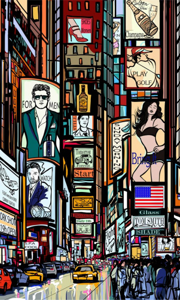 Vlies Fototapete Times Square Collage 150x250
