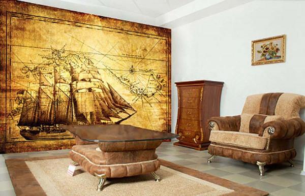 Fototapete Segelschiff antike Landkarte Wohnzimmer