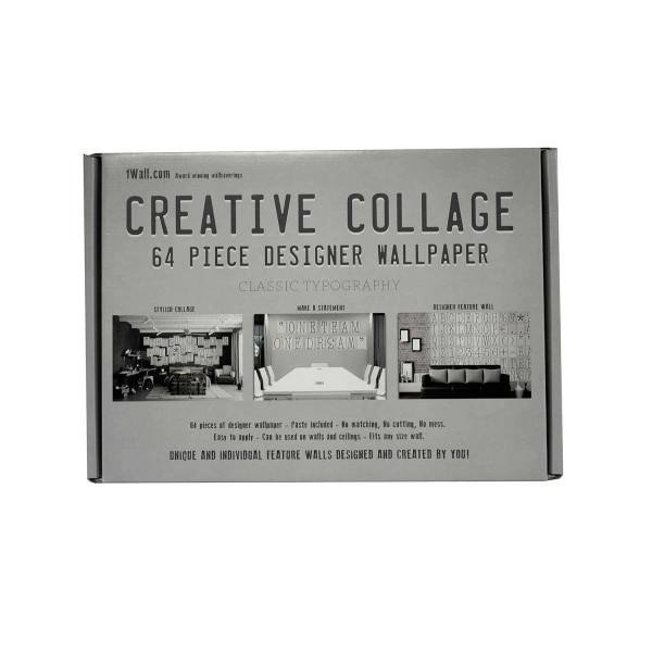 Kreative Collage Buchstaben Nummern Designer Tapete Geschenkbox