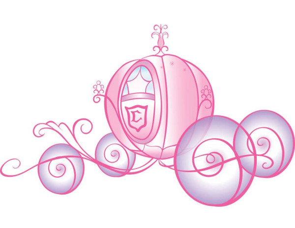Wandsticker Disney Princess Hochzeitskutsche Glitter