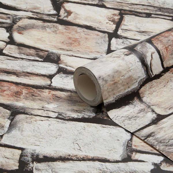 Tapetenrolle Cornwall Landhaus Mauerstein braun