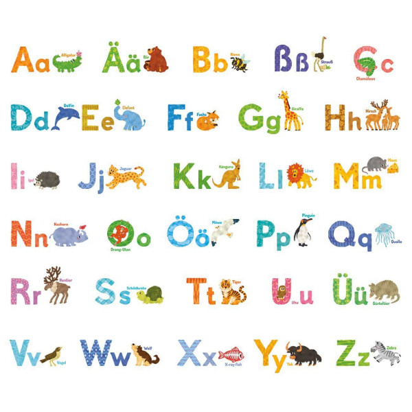 Wandsticker Tier-Alphabet Wasserfarben deutsch