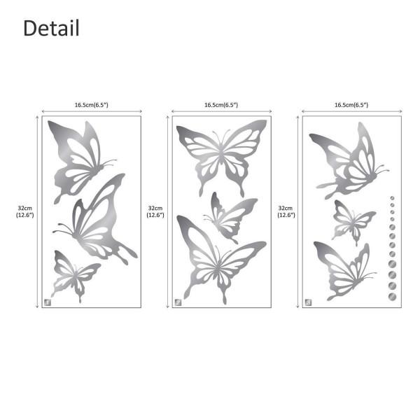 Wandtattoo moderne Schmetterlinge Falter Punkte in silber silber