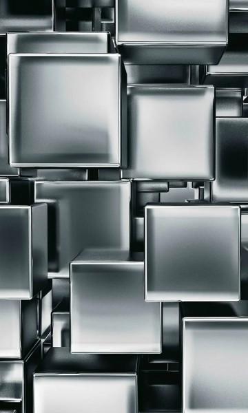 Vlies Fototapete Metall Würfel 150x250