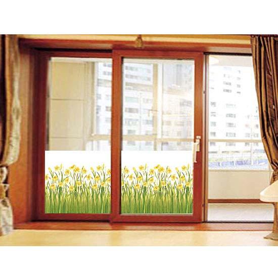 Fensterfolie selbstklebend Narzissenfeld gefrostet Balkontür