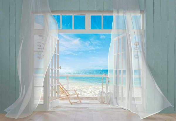 Fototapete Strandfenster Veranda