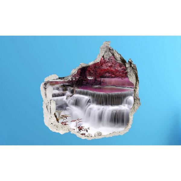 Wandsticker 3D-Optik Farbenspiel lila Wasserfall Breakthrough