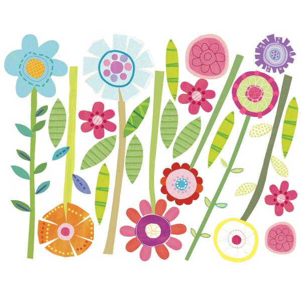 Wallies Wandsticker Grüner Garten Blumen