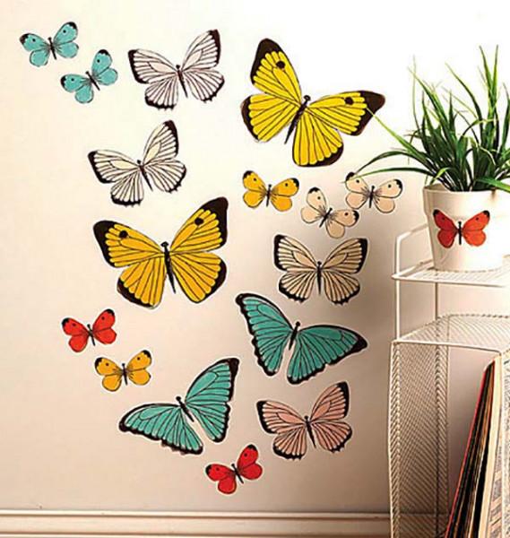 Wandsticker Pastell Schmetterlinge Wohnzimmer