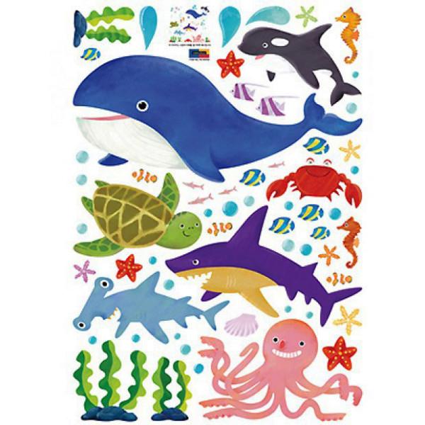 Wandsticker Meerestiere Walfisch Hai Schwertwal