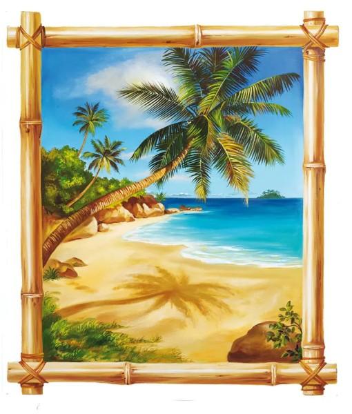 Wandsticker Bambusfenster Palmen Meer