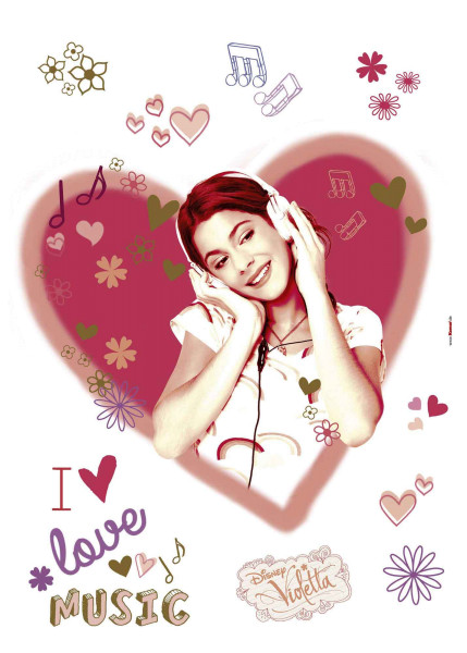 Wandsticker Violetta I love Music