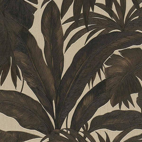 Vliestapete Giungla Palmwedel Versace schwarz