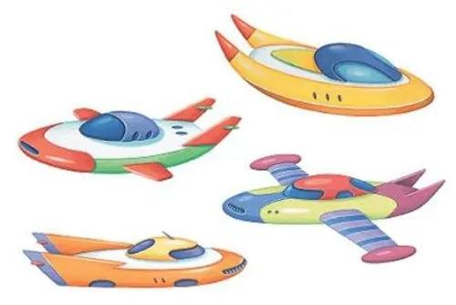 Wandsticker Weltraum-Schiffe Ufo