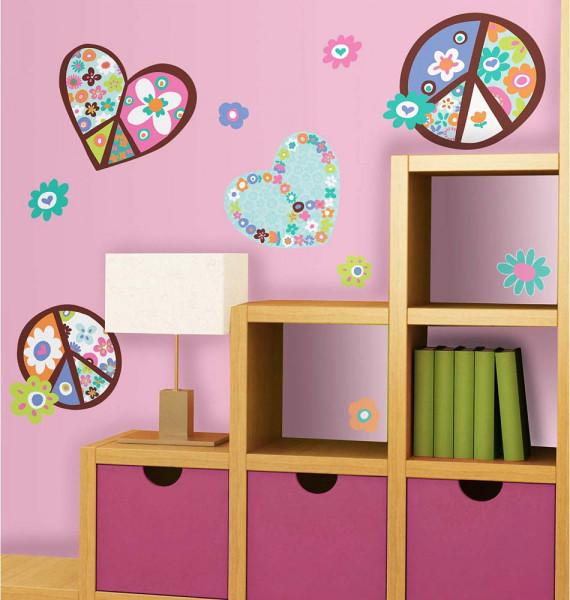 Wandsticker Love and Peace Kinderzimmer